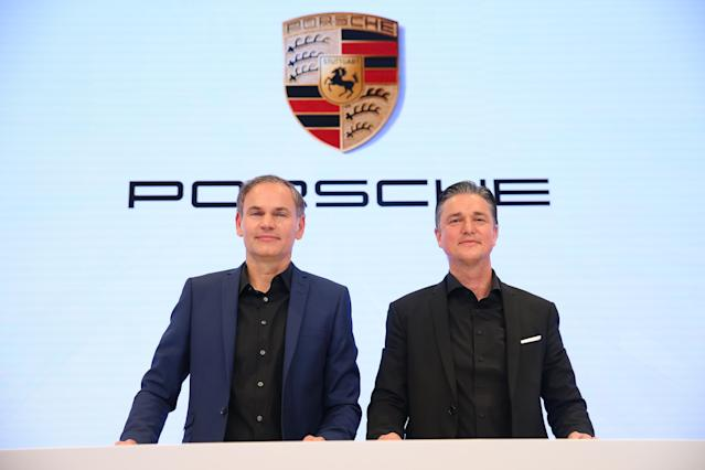 Oliver Blume (L), CEO of Porsche and Lutz Meschke, CFO of Porsche pictured at the company's annual press conference on March 15, 2019 in Stuttgart, Germany. Photo: Thomas Niedermueller/Getty Images