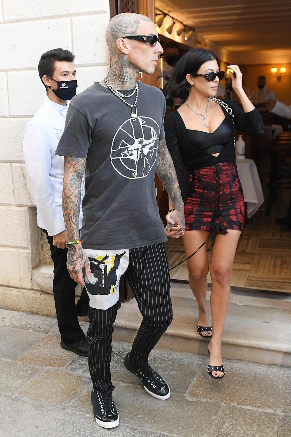 <p>The Poosh CEO and the Blink-182 drummer held hands as they left a romantic lunch together in Venice on Aug. 29. </p>
