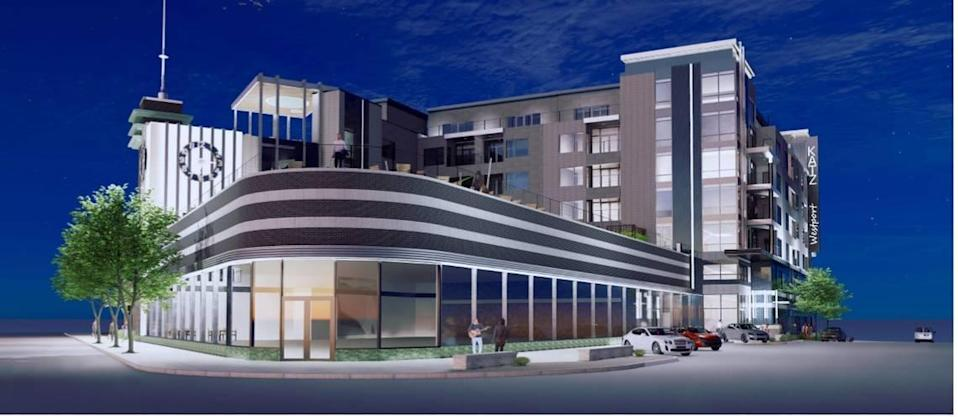 Developers submitted this rendering with their plans to redevelop the historic Katz Drug store building in Westport.