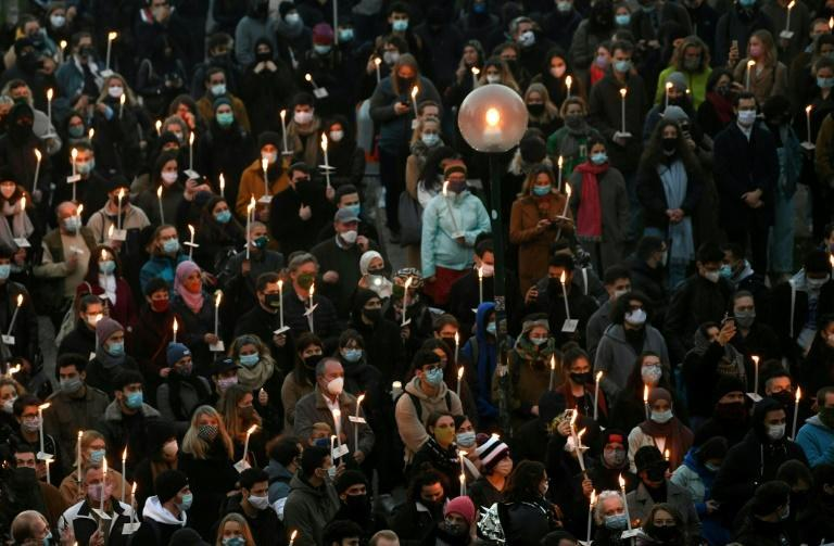 Hundreds came together to remember the victims in a candlelit vigil near the scene of the attack, including members of Jewish and Muslim youth organisations