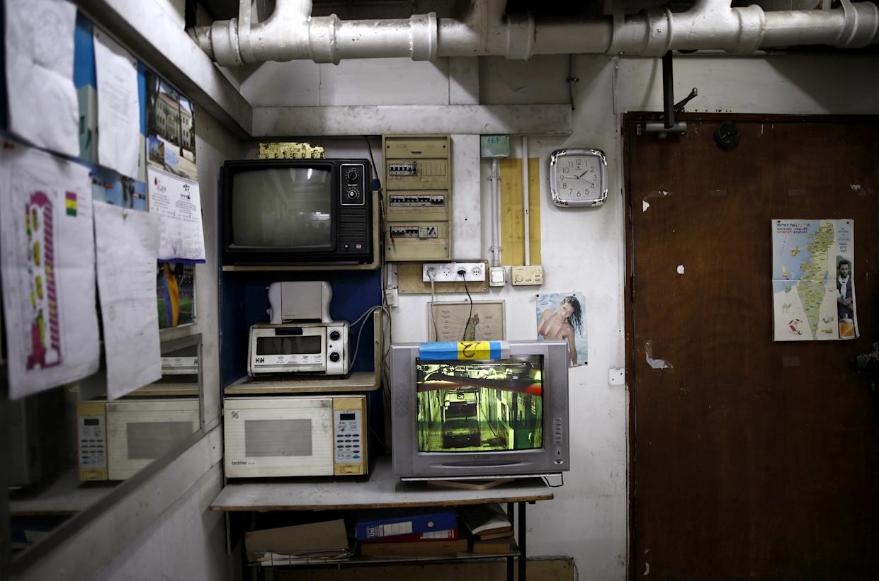 An office used by maintenance staff in the basement of the Central Bus Station on May 29. (Photo: Corinna Kern/Reuters)