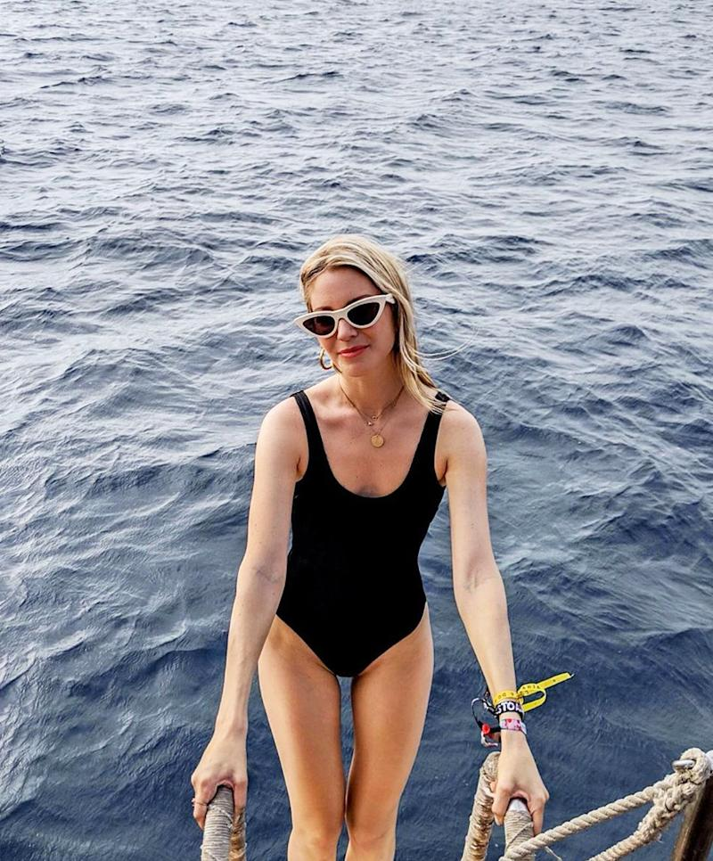 db7b5f5a9a2 Swimwear trends come and go each year, however the one constant is a black  swimsuit—as these are always an elegant choice. Keep scrolling to see—and  ...
