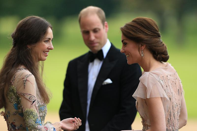 Rose Cholmondeley greets Prince William and Kate
