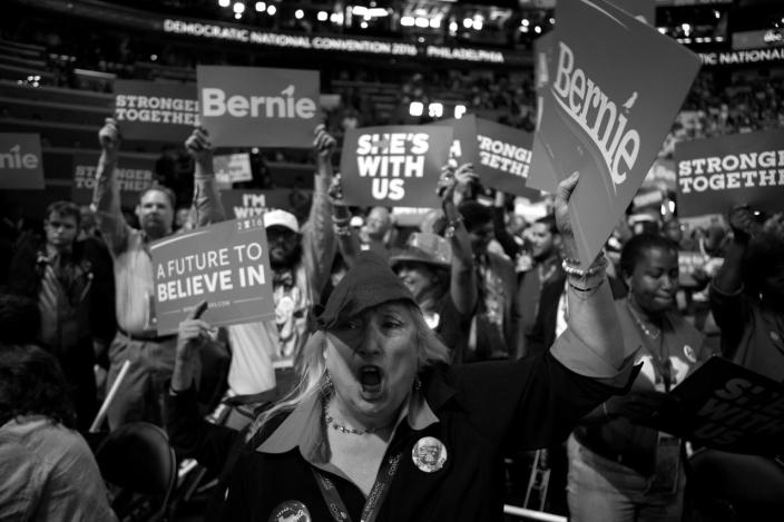 <p>Kit Jones, Texas delegate, cheers on Bernie Sanders at the Democratic National Convention Monday, July 25, 2016, in Philadelphia, PA. (Photo: Khue Bui for Yahoo News)</p>