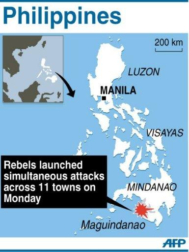 Map of the Philippines locating Maguindanao, where rebels launched simultaneous attacks on Monday