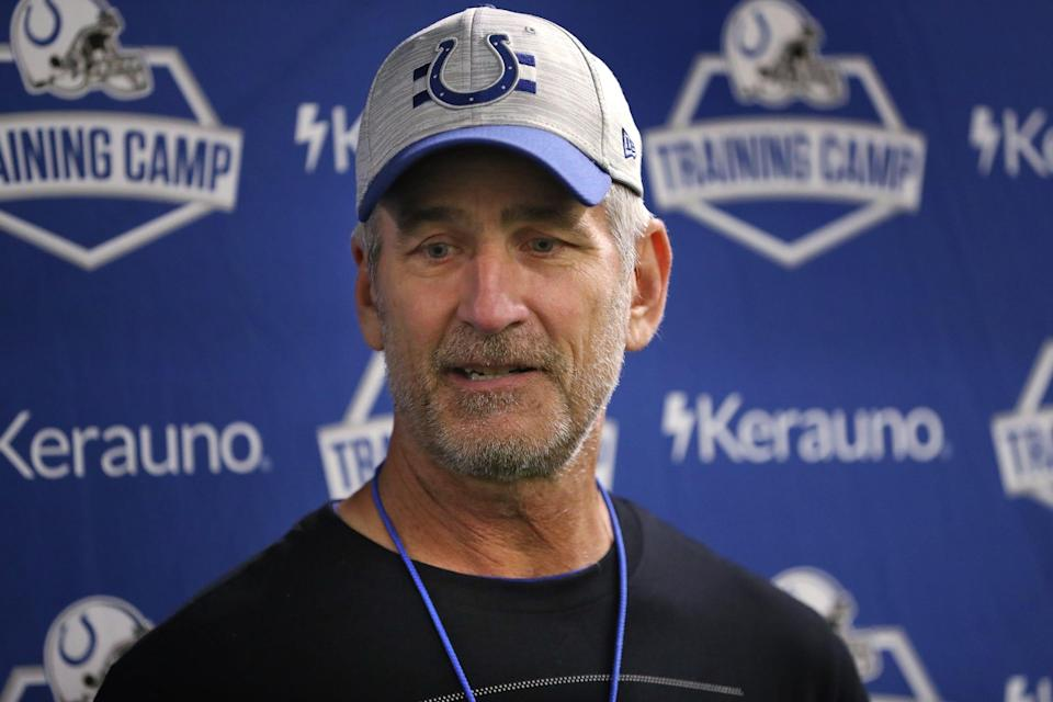 Head coach Frank Reich answers reporters' questions.