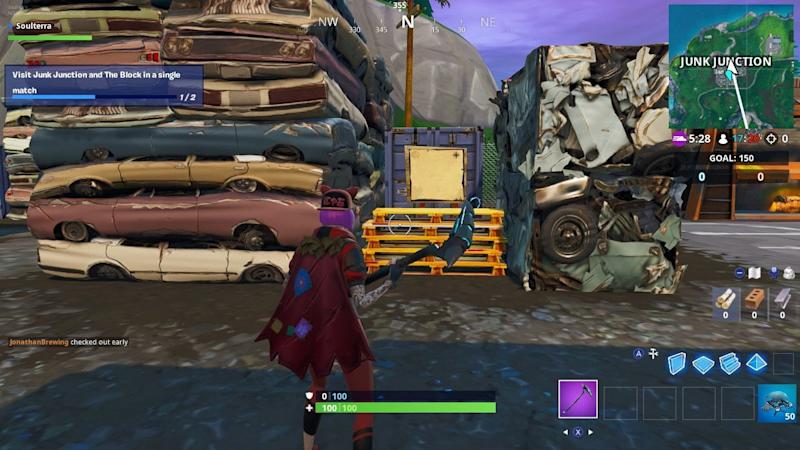 Treasure map sign post in fortnite