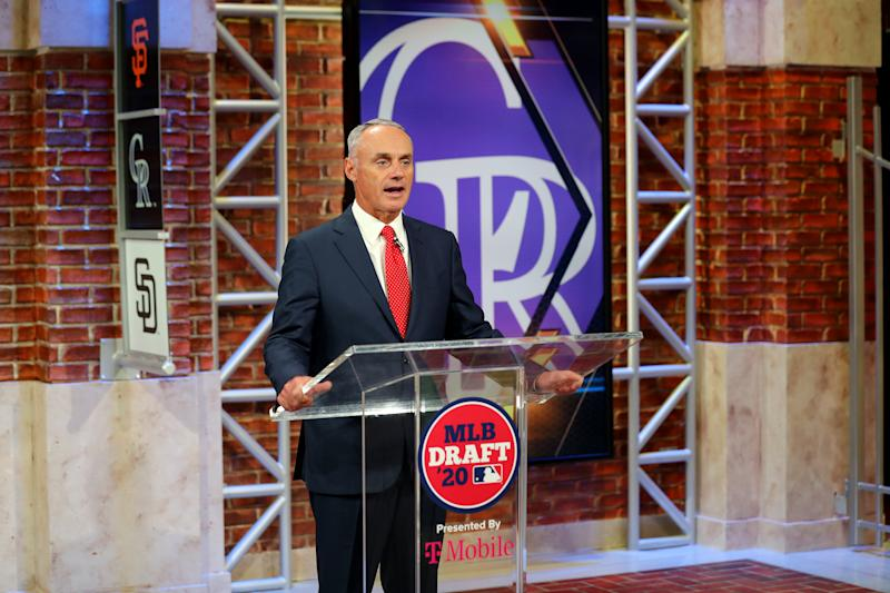 SECAUCUS, NJ - JUNE 10: Major League Baseball Commissioner Robert D. Manfred Jr. announces the ninth pick of the 2020 MLB Draft is Zac Veen by the Colorado Rockies during the 2020 Major League Baseball Draft at MLB Network on Wednesday, June 10, 2020 in Secaucus, New Jersey. (Photo by Alex Trautwig/MLB Photos via Getty Images)
