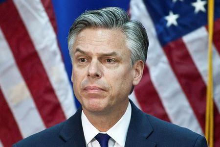 FILE PHOTO: Republican presidential candidate and former Utah Governor Jon Huntsman speaks at the Myrtle Beach Convention Center in Myrtle Beach