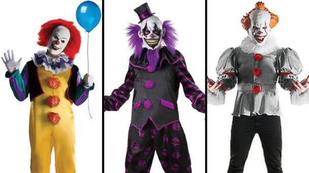 PHOTO: The 'Pennywise The Dancing Clown' costume and the 'Men's Bearded Clown' costume are available on halloweenexpress.com and the 'Adult Gray Pennywise' costume from the 2017 film, 'It' is listed for sale online at partycity.com. (halloweenexpress.com | partycity.com)