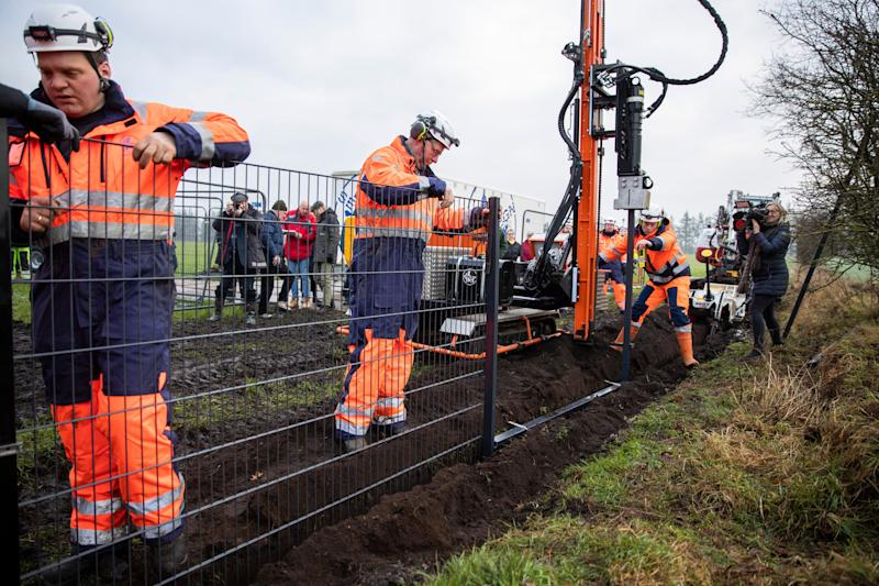 Workers erect a fence along the Denmark Germany border at Padborg, Denmark, Monday Jan. 28, 2019. Denmark has begun erecting a 70-kilometer (43.4-mile) fence along the German border to keep out wild boars in an attempt to prevent the spread of African swine fever, which could jeopardize the country's valuable pork industry.