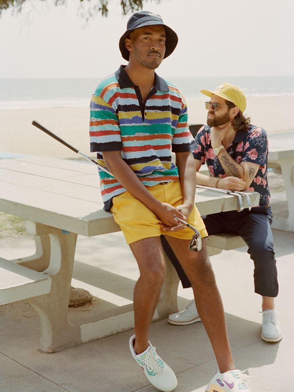 """<p>The bucket hat is back in a big way, and that extends to the golf course. Also, some of your favorite sneaker silhouettes have now been equipped with spikes or soft grips on their soles. Take advantage. </p><p><em>On Johnson: Polo by Missoni; Sweatshorts by Malbon Golf; Air Max 90 G NRG Sneakers by Nike; Hat by Manors. On Vick: Polo and Trousers by Bonobos; Hat by Malbon Golf; Shoes by Cole Haan; Sunglasses by Garrett Leight California Optical.</em></p><p><a class=""""link rapid-noclick-resp"""" href=""""https://www.missoni.com/us/missoni/men/view-all-menswear"""" rel=""""nofollow noopener"""" target=""""_blank"""" data-ylk=""""slk:Shop Missoni"""">Shop Missoni</a></p><p><a class=""""link rapid-noclick-resp"""" href=""""https://malbongolf.com/"""" rel=""""nofollow noopener"""" target=""""_blank"""" data-ylk=""""slk:Shop Malbon Golf"""">Shop Malbon Golf</a></p><p><a class=""""link rapid-noclick-resp"""" href=""""https://go.redirectingat.com?id=74968X1596630&url=https%3A%2F%2Fwww.nike.com%2Fw%2Fgolf-shoes-23q9wzy7ok&sref=https%3A%2F%2Fwww.esquire.com%2Fstyle%2Fmens-fashion%2Fg37291403%2Fbest-golf-style-2021%2F"""" rel=""""nofollow noopener"""" target=""""_blank"""" data-ylk=""""slk:Shop Nike"""">Shop Nike</a></p><p><a class=""""link rapid-noclick-resp"""" href=""""https://manorsgolf.com/"""" rel=""""nofollow noopener"""" target=""""_blank"""" data-ylk=""""slk:Shop Manors"""">Shop Manors</a></p><p><a class=""""link rapid-noclick-resp"""" href=""""https://go.redirectingat.com?id=74968X1596630&url=https%3A%2F%2Fbonobos.com%2Fshop%2Fsports-golf&sref=https%3A%2F%2Fwww.esquire.com%2Fstyle%2Fmens-fashion%2Fg37291403%2Fbest-golf-style-2021%2F"""" rel=""""nofollow noopener"""" target=""""_blank"""" data-ylk=""""slk:Shop Bonobos"""">Shop Bonobos</a></p><p><a class=""""link rapid-noclick-resp"""" href=""""https://go.redirectingat.com?id=74968X1596630&url=https%3A%2F%2Fwww.colehaan.com%2Fmens-shoes-golf&sref=https%3A%2F%2Fwww.esquire.com%2Fstyle%2Fmens-fashion%2Fg37291403%2Fbest-golf-style-2021%2F"""" rel=""""nofollow noopener"""" target=""""_blank"""" data-ylk=""""slk:Shop Cole Haan"""">Shop Cole Haan</a></p>"""