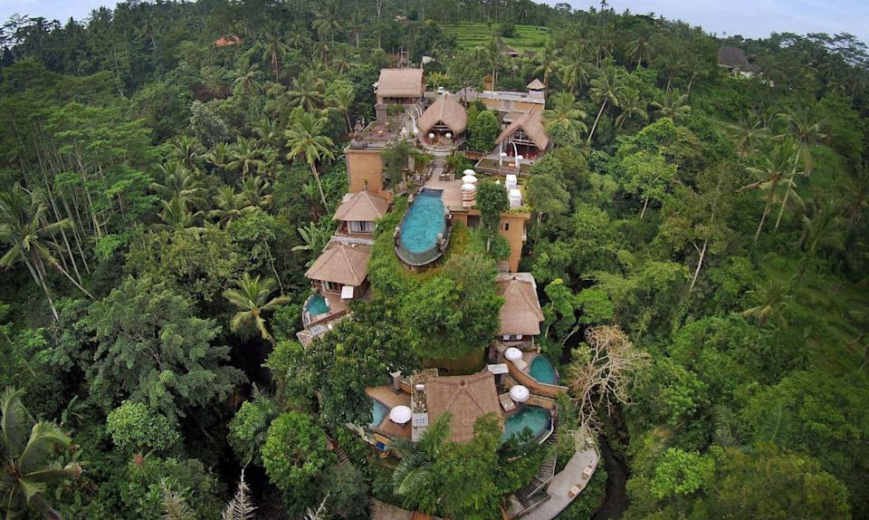 """Perched atop the Ubud hillside and surrounded by lush tropical rainforest, <strong><a href=""""https://www.tripadvisor.com/Hotel_Review-g297701-d7022088-Reviews-The_Kayon_Resort-Ubud_Gianyar_Regency_Bali.html"""" target=""""_blank"""" rel=""""noopener noreferrer"""">The Kayon Resort</a></strong> is one of the most enchanting locations on this year's list of romantic destinations. Kayon means tree of life, the perfect location for those on honeymoons, seeking romance, or looking for healing and relaxation."""