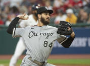 Chicago White Sox starting pitcher Dylan Cease delivers against the Cleveland Indians during the first inning of a baseball game in Cleveland, Friday, Sept. 24, 2021. (AP Photo/Phil Long)