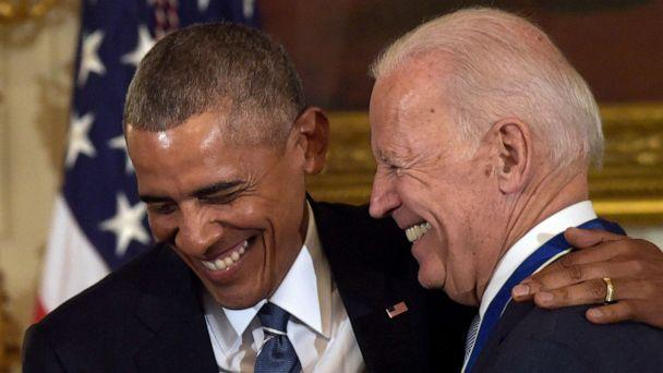PHOTO: In this Jan. 12, 2017, file photo, President Barack Obama laughs with Vice President Joe Biden during a ceremony in the State Dining Room of the White House in Washington where Obama presented Biden with the Presidential Medal of Freedom. (Susan Walsh/AP, FILE)