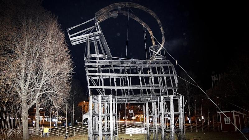 Sweden's Christmas goat didn't even last 24 hours, it was burned to the ground on inauguration day.