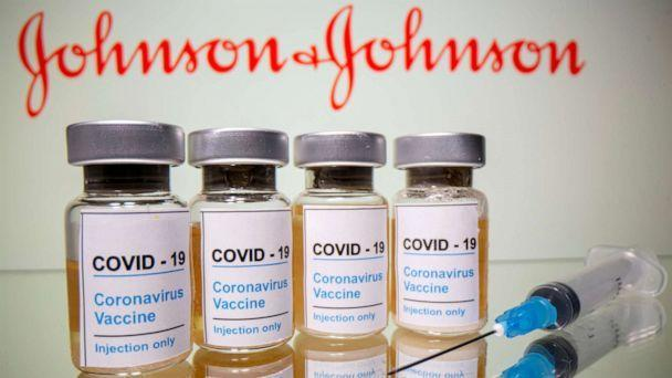 FILE PHOTO: Vials with a sticker reading, 'COVID-19 / Coronavirus vaccine / Injection only' and a medical syringe are seen in front of a displayed Johnson & Johnson logo in this illustration taken October 31, 2020.  (Dado Ruvic/Reuters)