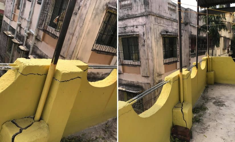 Damage caused to the house by Cyclone Amphan