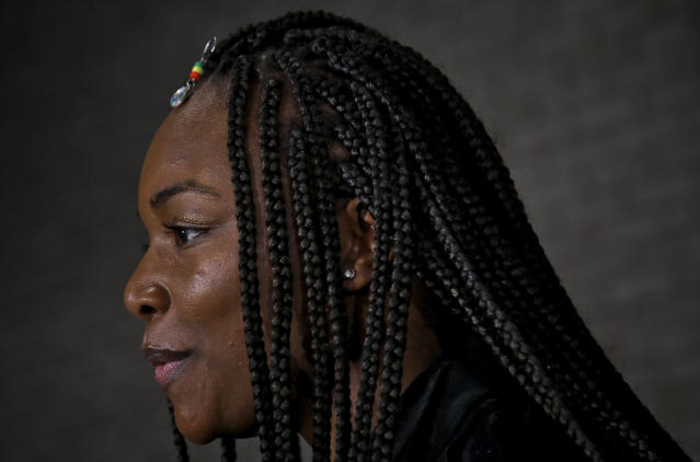 In a Feb. 26, 2019, photo, Claressa Shields attends a news conference in New York for her upcoming middleweight boxing bout against Germany's Christina Hammer. Shields, a two-time U.S. Olympic gold medalist, is coming off five weeks of camp at the U.S Olympic Training Center in Colorado Springs, Colo. She also spent two weeks working out in her hometown of Flint, Mich. Shields and Hammer are the first female boxers featured on Showtimes All Access, with the next episode Friday on its YouTube sports channel. (AP Photo/Bebeto Matthews)