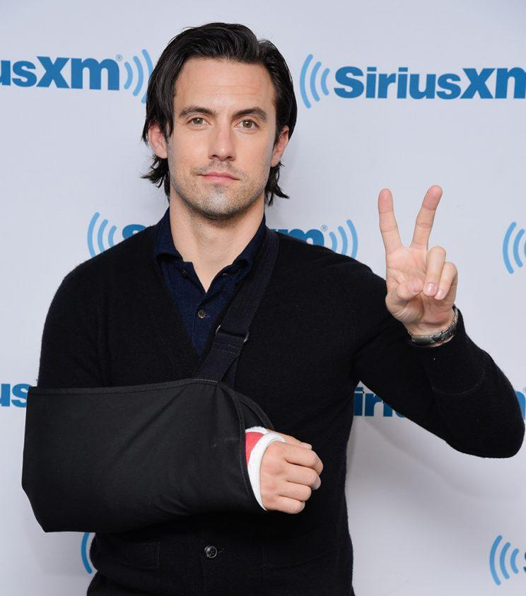 Milo Ventimiglia flashed a peace sign and says it's all good. (Photo: Matthew Eisman/Getty Images)