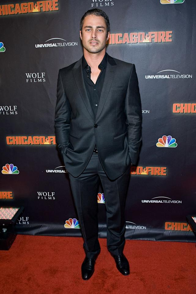 "Taylor Kinney attends NBC's ""Chicago Fire"" premiere at the Chicago History Museum on October 2, 2012 in Chicago, Illinois."