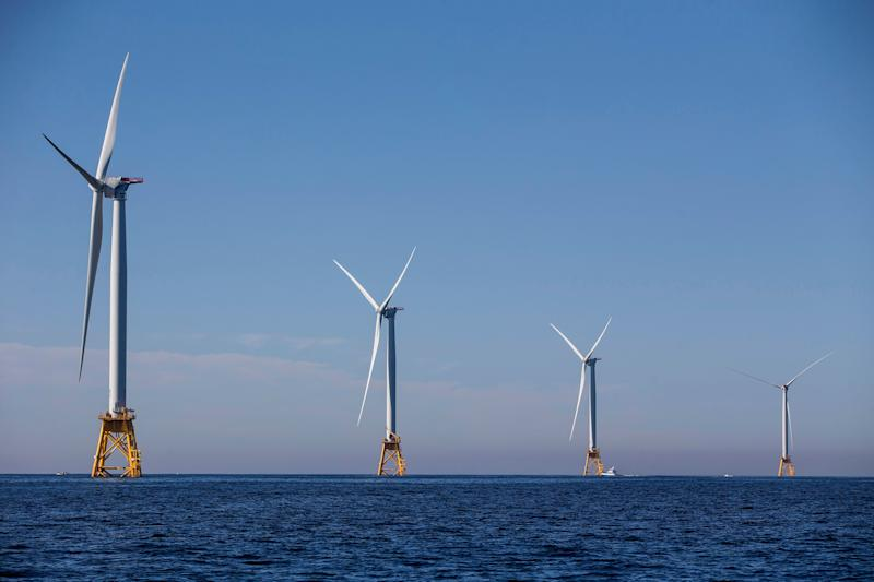 The five new 6 megawatt wind turbines off the coast of Block Island, Rhode Island, are expected to produce more energy than the island needs.