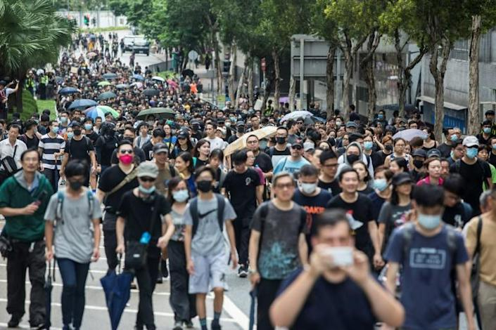 The protests were sparked by opposition to a plan to allow extraditions to the mainland, but have since morphed into a wider call for democratic rights (AFP Photo/ISAAC LAWRENCE)