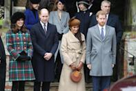 <p>Meghan joined the royals at Sandringham at Christmas for the first time in 2017. The ladies looked chic in winter coats, with Kate in a tartan Miu Miu number and Meghan opting for a camel Sentaler jacket, a brown Philip Treacy hat and a circular Chloe 'Pixie' bag. (Getty) </p>