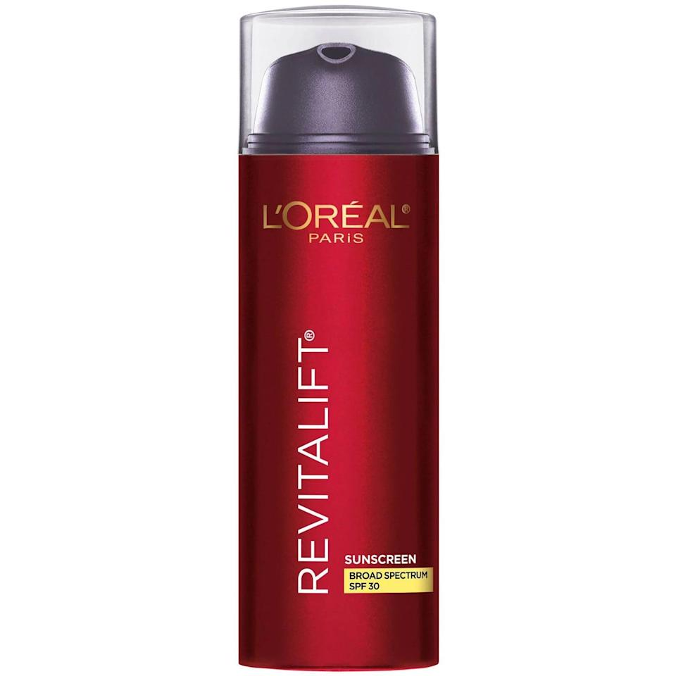 <p>The <span>L'Oréal Paris Revitalift Triple Power Anti-Aging Lotion SPF 30</span> ($20) is an antiaging moisturizer that targets wrinkles, fine lines, and uneven skin tone with its formula of pro-retinol, hyaluronic acid, and vitamin C. </p>