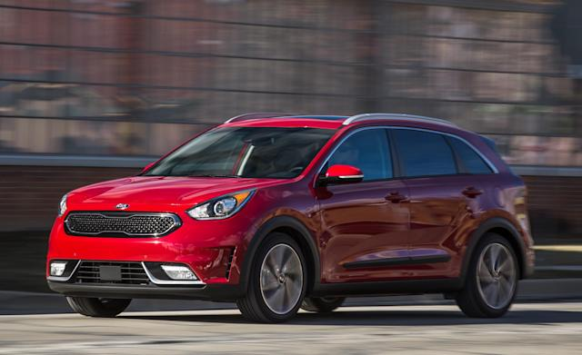 <p><strong>Kia Niro</strong><br><strong>Price as tested: </strong>$26,805<br><strong>Highlights: </strong>Good fuel economy combined with cargo versatility. Advanced safety features available on higher-end models.<br><strong>Lowlights: </strong>Handling lacks agility, ride is a bit choppy.<br>(Car and Driver) </p>