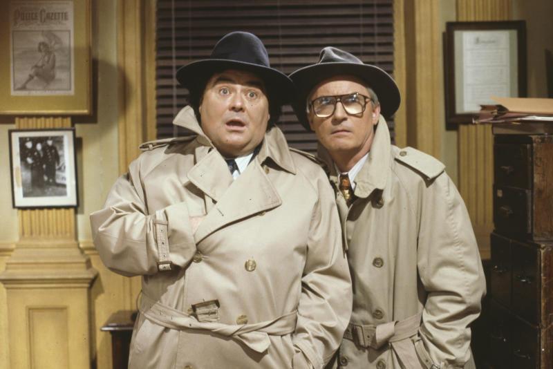 Comedy double act Eddie Large (left) and Syd Little in a rhyming detective sketch for the BBC Television variety show 'The Little and Large Show', February 12th 1991. (Photo by Don Smith/Radio Times/Getty Images)