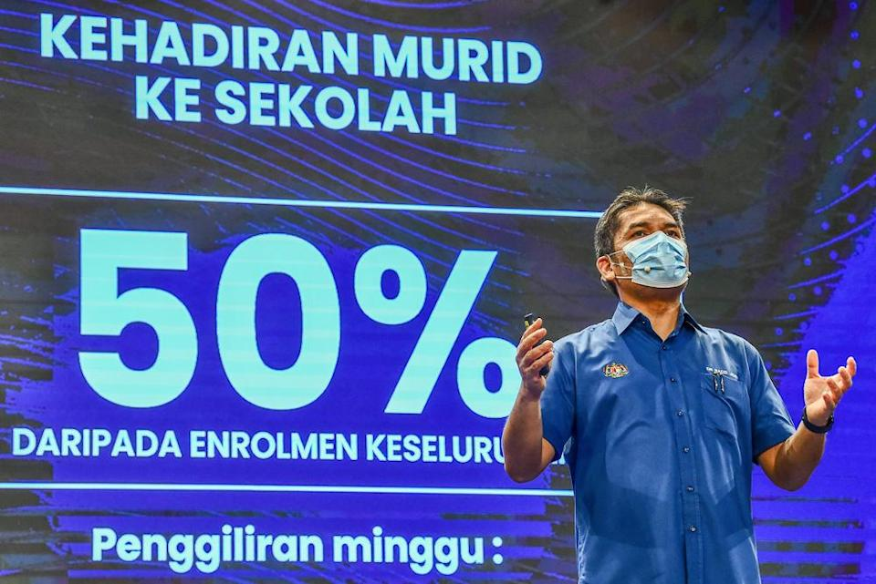 Education Minister Datuk Mohd Radzi Md Jidin speaks during a press conference at its ministry in Putrajaya September 12, 2021. — Picture courtesy of the Ministry of Education