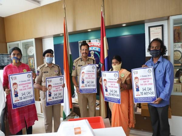 Commissioner of Police, Cyberabad IPS VC Sajjanar released posters for International Girl Child day at Cyberabad Commissioner's Office on Friday.