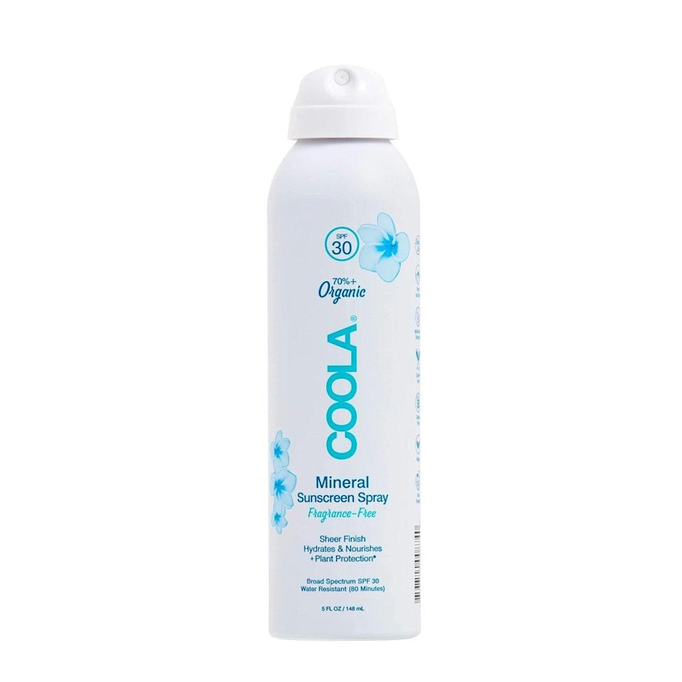 """The sheer, matte-finish Coola Mineral Sunscreen Spray provides moisture and antioxidants to the skin with its fast-absorbing formula. Containing shea butter, glycerin, and aloe, this formulation is perfect for calming any sun-induced inflammation and restoring the skin barrier to promote hydration, Day says. $28, Dermstore. <a href=""""https://shop-links.co/1740458017330678750"""" rel=""""nofollow noopener"""" target=""""_blank"""" data-ylk=""""slk:Get it now!"""" class=""""link rapid-noclick-resp"""">Get it now!</a>"""