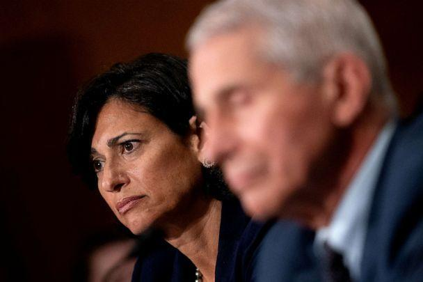 PHOTO: WASHINGTON, DC - JULY 20: Rochelle Walensky, Director of the U.S. Centers for Disease Control and Prevention (CDC), left, and Dr. Anthony Fauci, listen at a Senate Health, Education, Labor, and Pensions Committee hearing. (Pool/Getty Images)