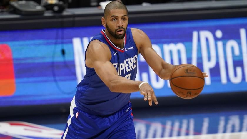 Los Angeles Clippers forward Nicolas Batum in the second half of an NBA basketball game late Friday, Dec. 25, 2020, in Denver. (AP Photo/David Zalubowski)