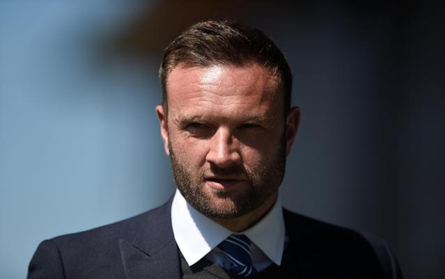 """Soccer Football - League Two - Barnet vs Chesterfield - The Hive, London, Britain - May 5, 2018 Chesterfield manager Ian Evatt before the match Action Images/Adam Holt EDITORIAL USE ONLY. No use with unauthorized audio, video, data, fixture lists, club/league logos or """"live"""" services. Online in-match use limited to 75 images, no video emulation. No use in betting, games or single club/league/player publications. Please contact your account representative for further details."""