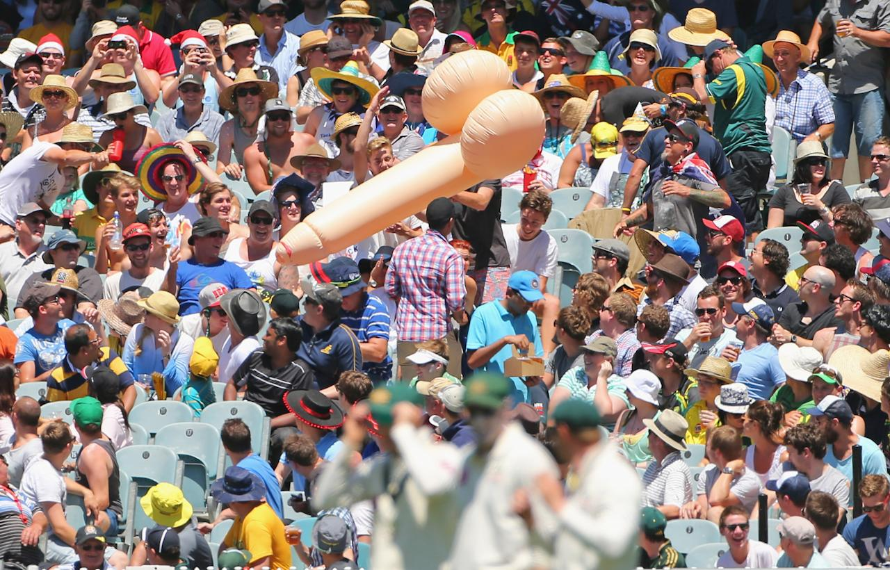 MELBOURNE, AUSTRALIA - DECEMBER 26:  An inflatable object bounces above the crowd during day one of the Second Test match between Australia and Sri Lanka at Melbourne Cricket Ground on December 26, 2012 in Melbourne, Australia.  (Photo by Scott Barbour/Getty Images)