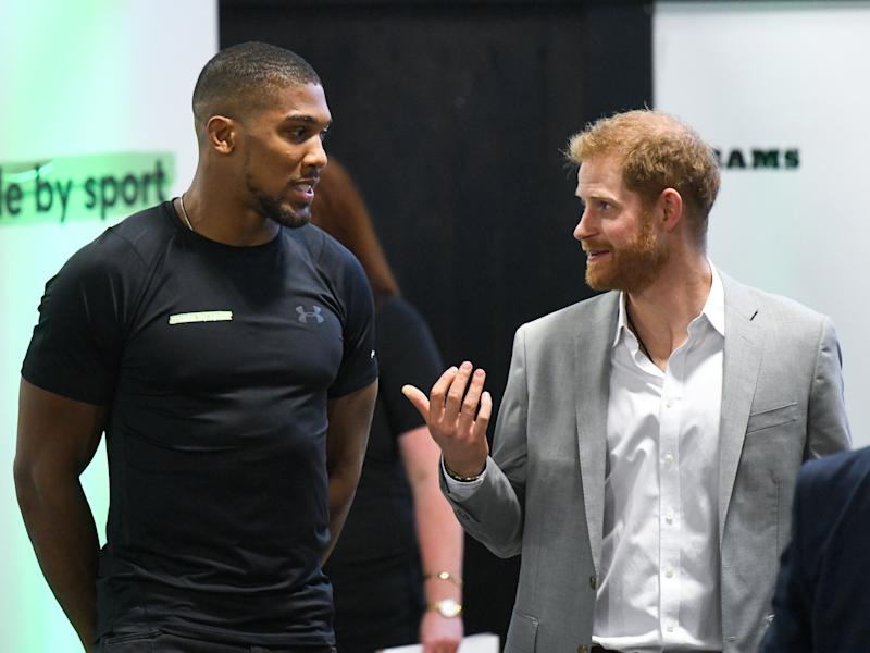 The Duke of Sussex and Anthony Joshua attend the launch of Made by Sport, a new campaign bringing together a coalition of charities supporting disadvantaged young people through sport, at Black Prince Trust in Lambeth, London. Picture Credit Should Read: Doug Peters/EMPICS