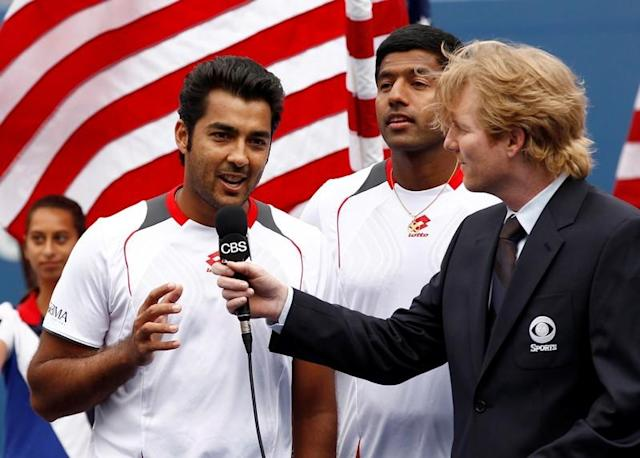 FILE PHOTO: Qureshi and Bopanna are interviewed after their match against Bob and Mike Bryan at the U.S. Open tennis tournament in New York