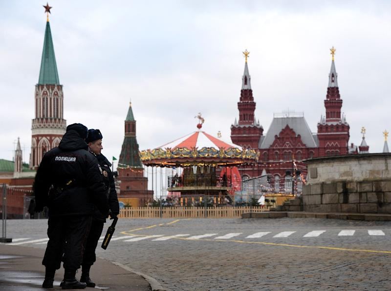 Russian police patrol Red Square in Moscow, on December 31, 2013