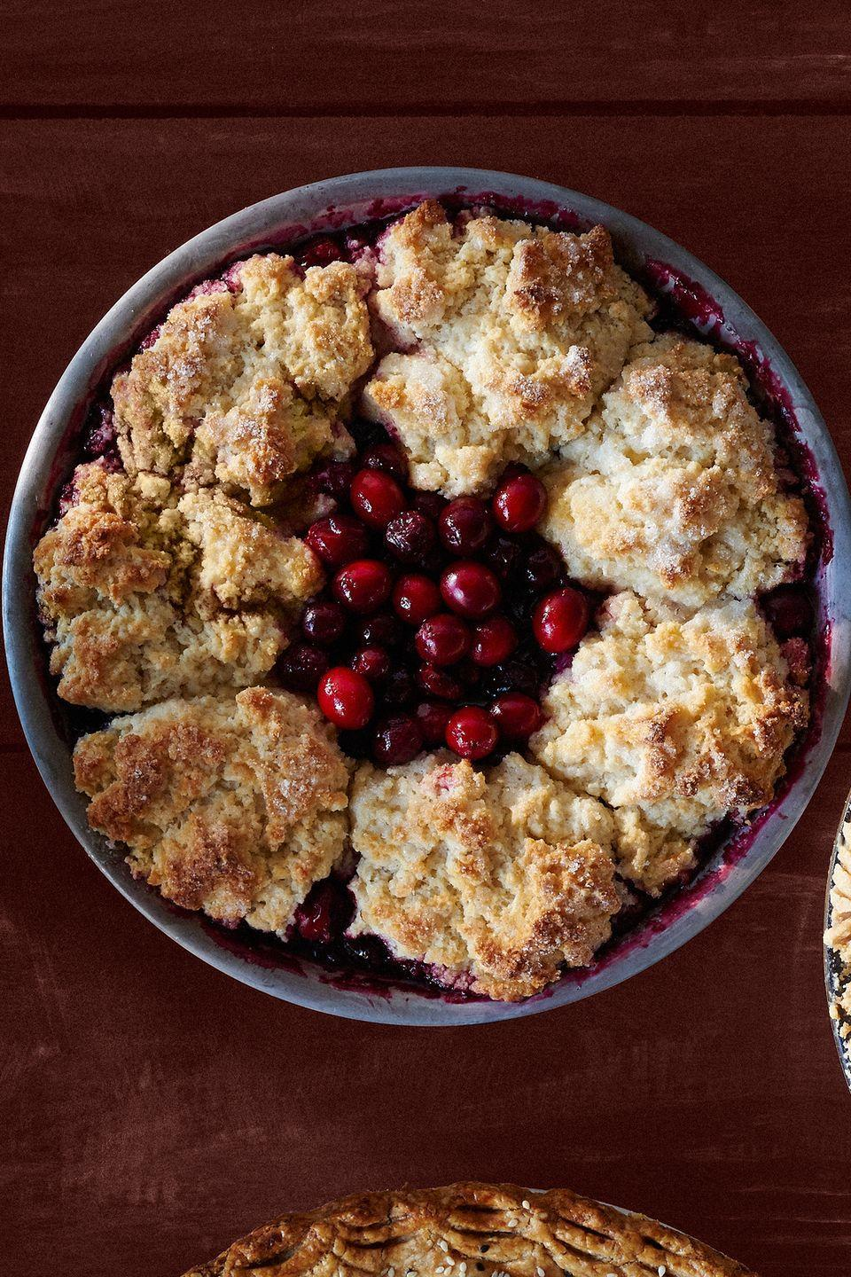 """<p>This dessert is two in one: cobbler and pie at the same time!</p><p><strong><a href=""""https://www.countryliving.com/food-drinks/recipes/a36549/cranberry-cherry-cobbler-pie/"""" rel=""""nofollow noopener"""" target=""""_blank"""" data-ylk=""""slk:Get the recipe"""" class=""""link rapid-noclick-resp"""">Get the recipe</a>.</strong> </p>"""