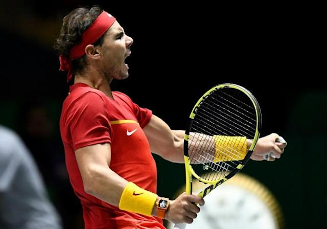 Nadal beat Dan Evans to force a deciding doubles match against Britain in the semi-finals (AFP Photo/OSCAR DEL POZO)