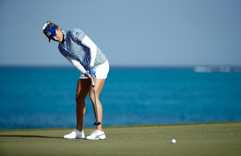 Lexi Thompson -- shown here at the Pure Silk Bahamas LPGA Classic in January 2018 on Paradise Island -- says she's still haunted by a rules violation that cost her a title last year (AFP Photo/ANDY LYONS)