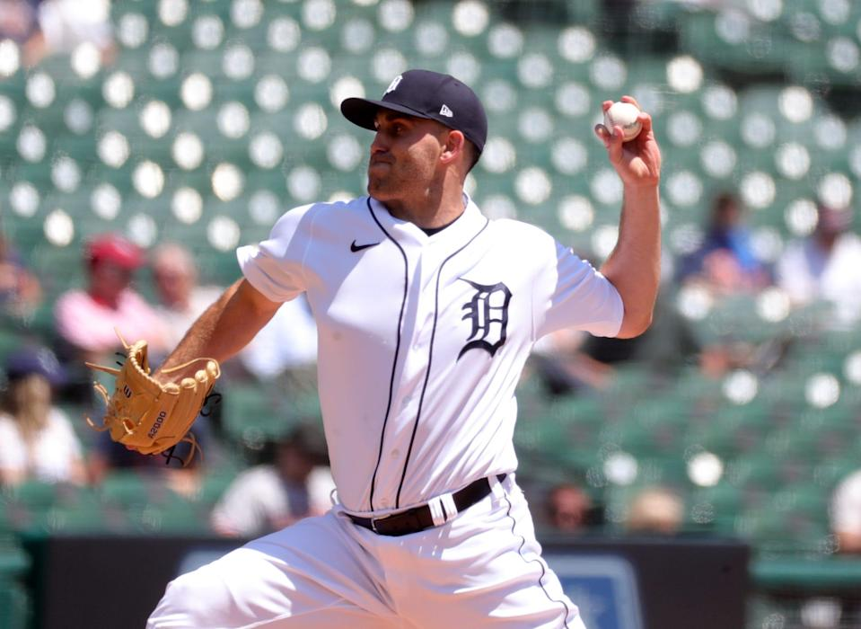 Tigers pitcher Matthew Boyd throws against Cleveland during the second inning on Thursday, May 27, 2021, at Comerica Park.