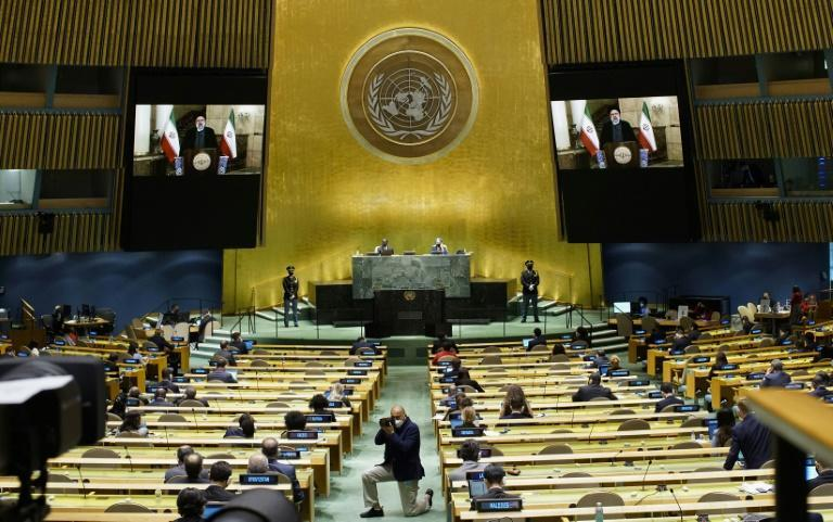Iran President Ebrahim Raisi remotely addresses the 76th Session of the UN General Assembly via video-link on September 21, 2021 in New York (AFP/EDUARDO MUNOZ)