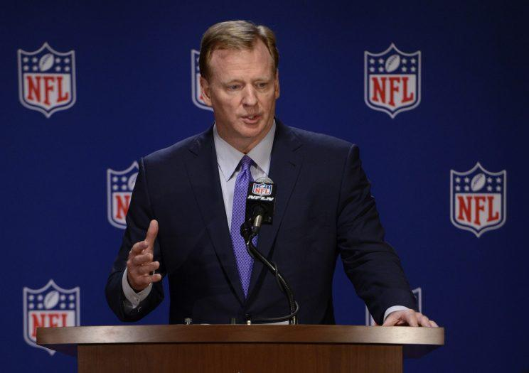 Roger Goodell and the NFL will accept hard liquor ads on a limited basis this season. (AP)