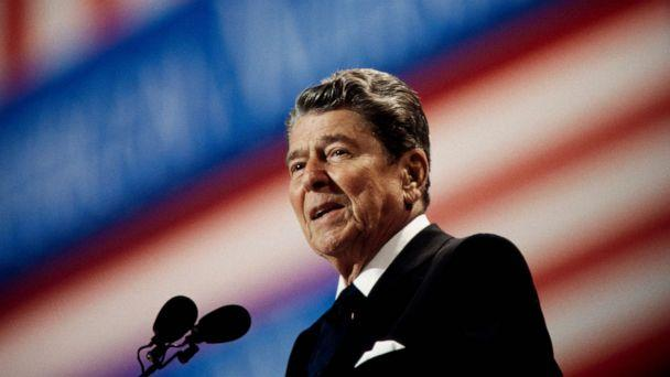PHOTO: Ronald Reagan Speaking at the Republican National Convention, Aug. 17, 1992. (Corbis via Getty Images, FILE)