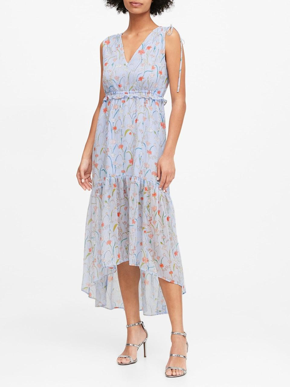 <p>Save more than 75 percent on this pretty <span>Banana Republic Floral Ruched Maxi Dress</span> ($40, originally $169) now.</p>