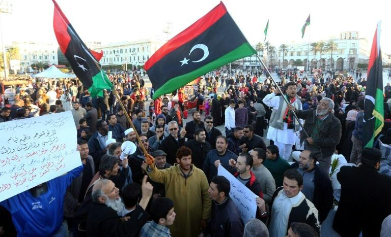 Libyans demonstrate against eastern strongman Khalifa Haftar and in support of the Islamist-led Benghazi Defence Brigades (BDB) on March 10, 2017 in Tripoli